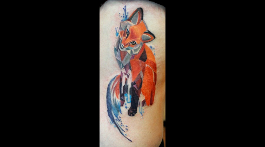 Fox  Geometric  Graphic  Drippy  Watercolor  Awesome  Colorful  Badass   Color Ribs