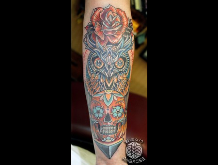 Owl  Traditional  Sugar Skull  Rose  Skull  Awesome  Badass  Clean  Color   Color Forearm