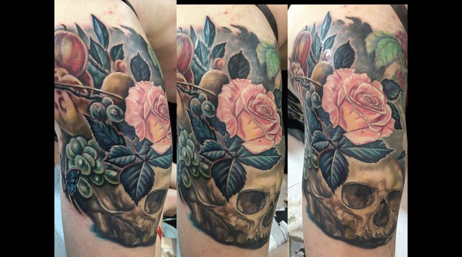 Skull  Painting  Roses  Flowers  Still Life  Awesome  Detailed  Intricate   Color Arm