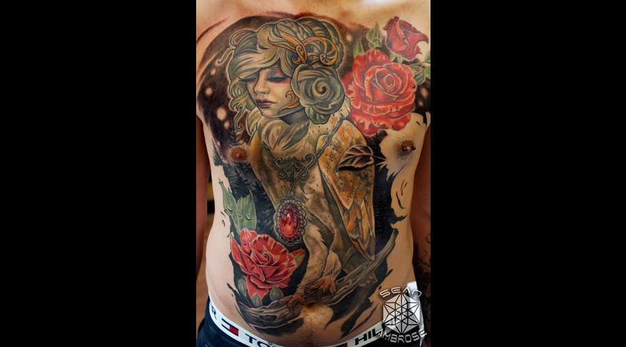 Owl  Face  Lady  Roses  Portrait  Surreal  Badass  Fuck Yeah   Color Chest