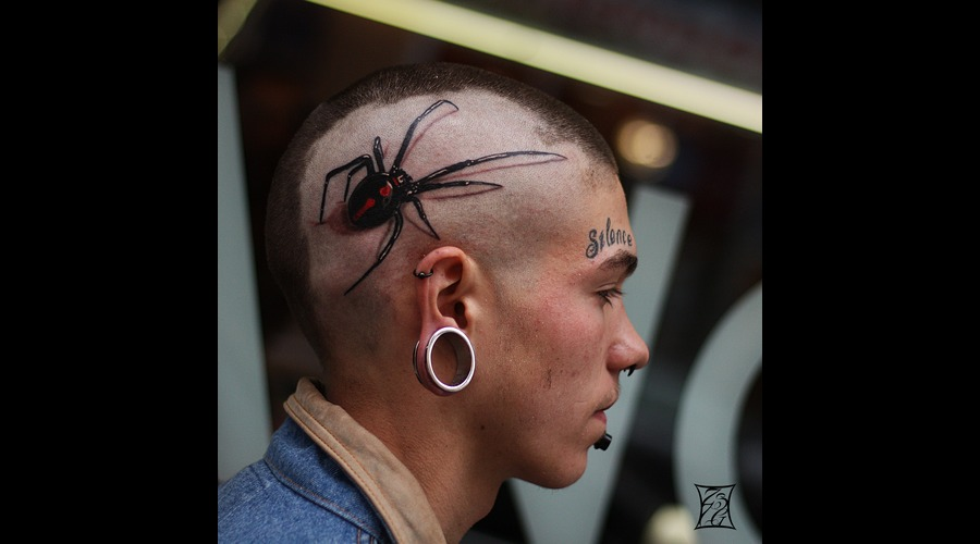 Black Widow Tattoo Montreal Tattooartist Gabor Zsil Black Grey Head