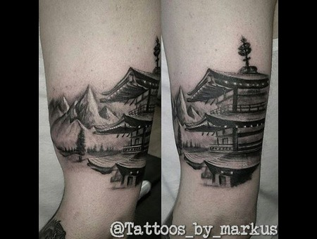 Pagoda Tattoo  Japanese Tattoo  Mt Fuji Tattoo  Architecture Black Grey Arm