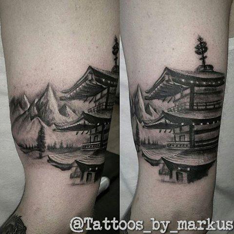 Pagoda Tattoo Japanese Mt Fuji Architecture Black Grey Arm