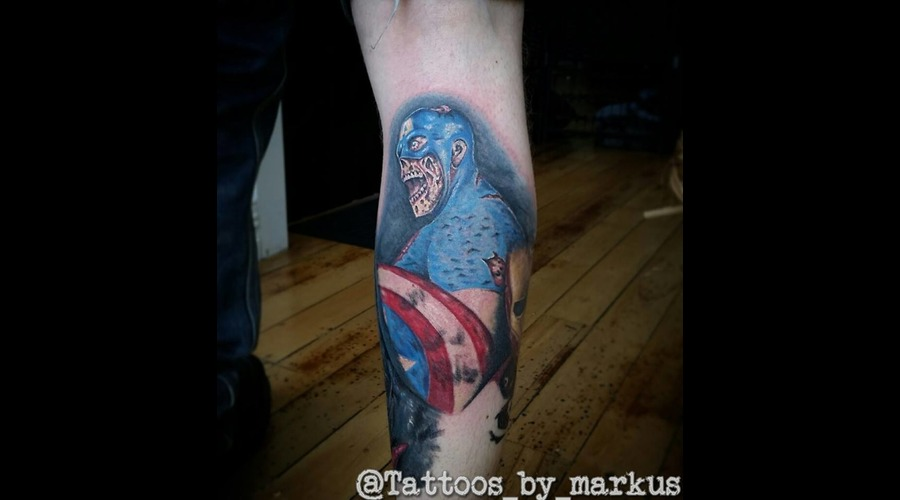 Captain America  Marvel  Marvel Tattoo  Zombie  Zombie Captain America Color Lower Leg