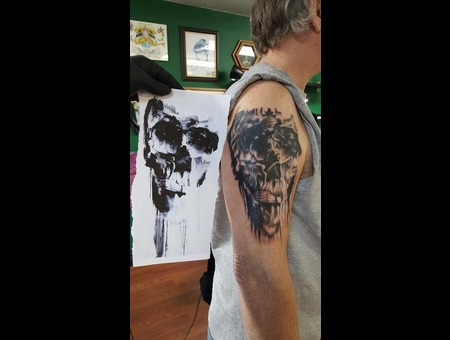 Optical Illusion Skull With Chinese Theater Added On Top Black Grey