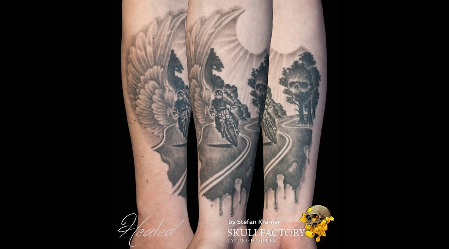 Biker Black Grey Forearm