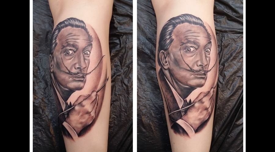 Salvador Dali Black Grey Lower Leg