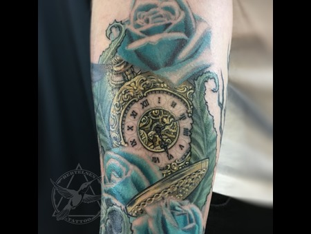 Pocket Watch  Blue  Gold  Blue Roses  Nature  Sacred Geometry Color Forearm