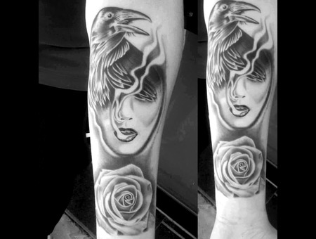 Custom Surrealism Black Grey Forearm