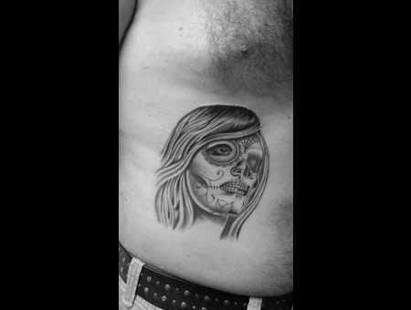 Dia De Los Muertos Girl Custom Black Grey Ribs