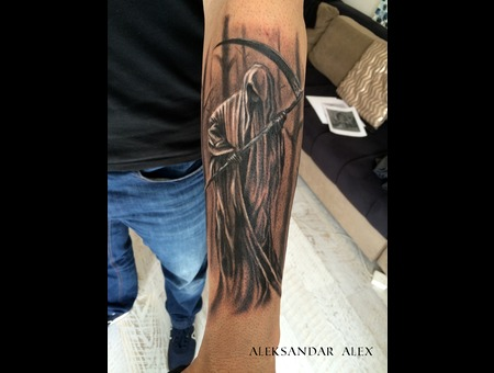 Death  Grin Reaper   Black Grey Forearm