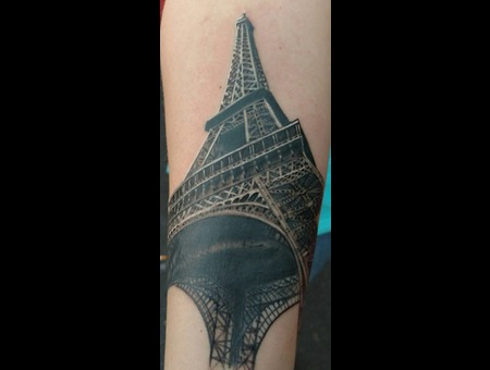 Paris Effiel Tower Tattoo Black Grey Arm