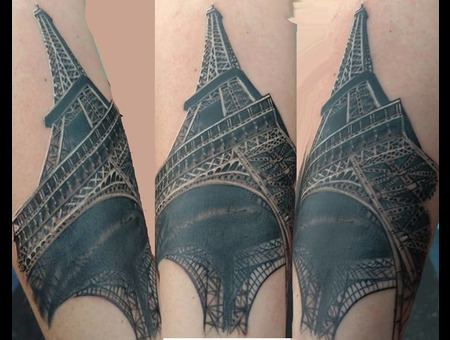 Paris Eiffel Tower Tattoo Black Grey Forearm