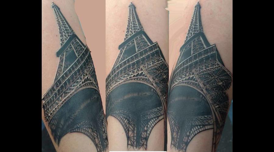 Paris Eiffel Tower Tattoo Black Grey Forearm