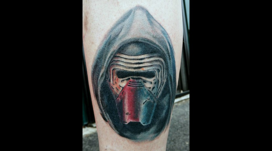 Kylo Ren Star Wars Color Portrait Tattoo Color Lower Leg