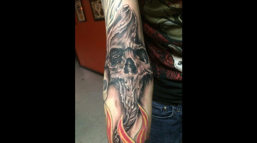 Skull Tattoo Black Grey Arm