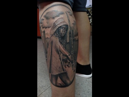 Michonne The Walking Dead Portrait Tattoo Black Grey Lower Leg