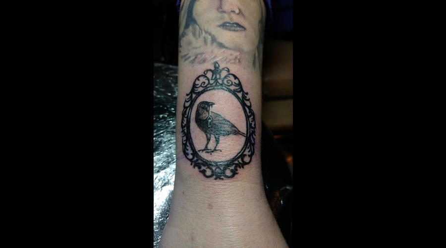 Crow Tattoo  Black Grey Arm