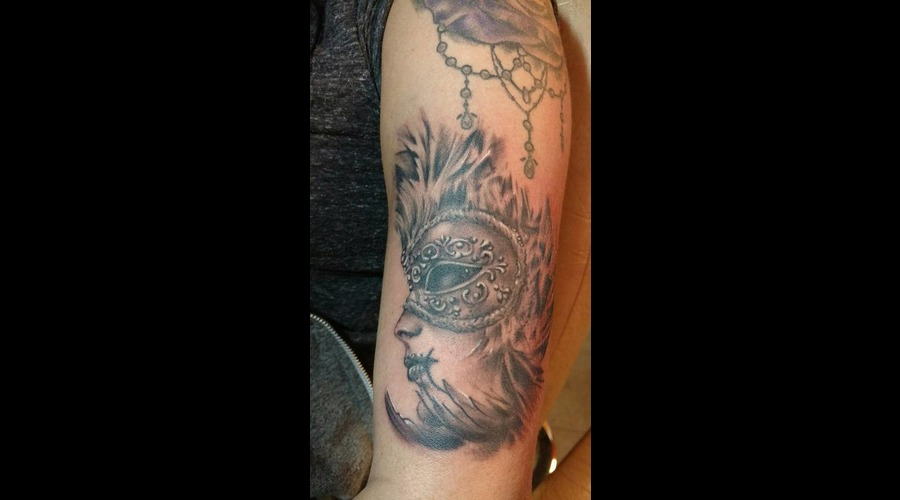 Venetian Mask Tattoo Black Grey Arm