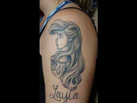 Ariel Tattoo Little Mermaid Tattoo Black Grey Back