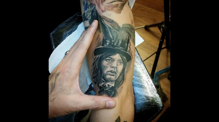 Mick Jagger  Portrait Black Grey Arm