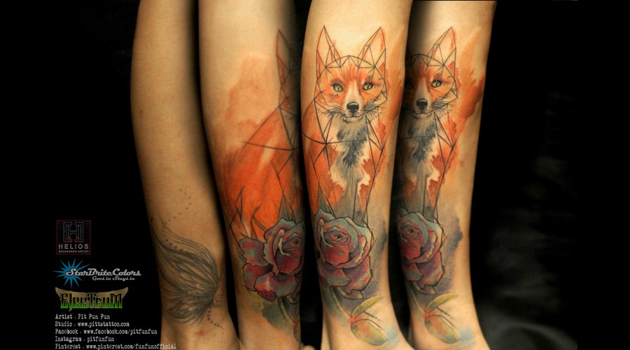 Geometry   Watercolor Rose And Fox Tattoo . Facebook : Fun Fun Official Pag Color Lower Leg