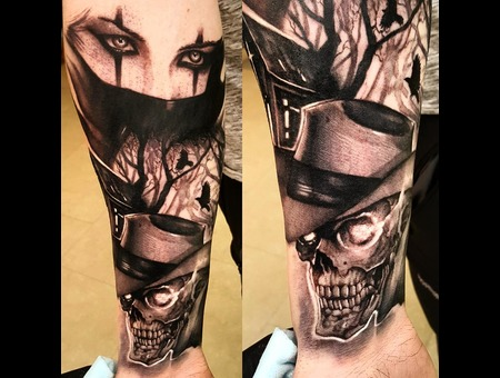 Skull  Evil Black Grey Arm