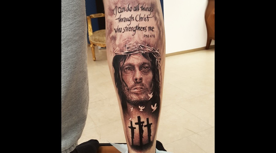 Jesus  Christ  Portrait  Cross  Religion Black Grey Arm