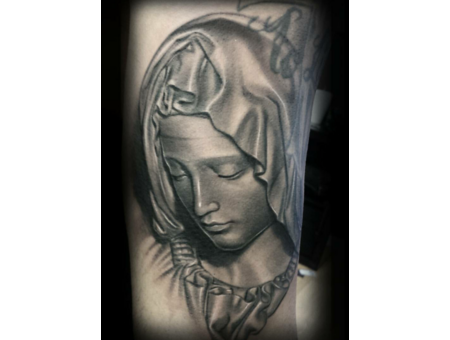 Black And Grey  Realism  Pieta  Statue  Virgin Mary   Black Grey Arm
