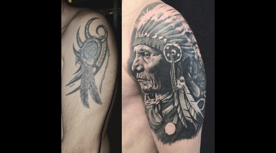 #Coveruptattoo #Indianchief Black Grey Shoulder