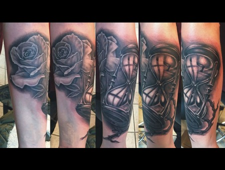 Rose Tattoo  Hour Glass  Black And Grey Tattoo  Black Grey Forearm