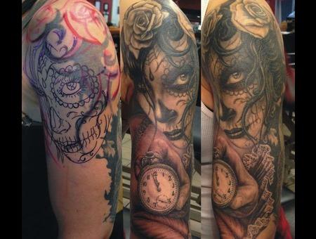 Cover Up   La Catrina Tattoo  Black Grey Arm