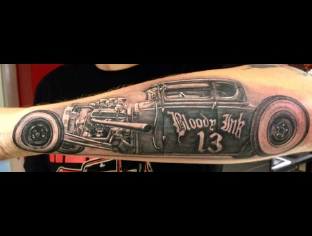 Hot Rod Tattoo  Black And Grey  Black Grey Forearm