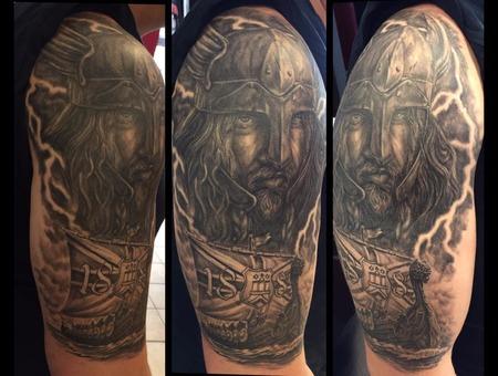 Wiking Tattoo  Black Grey Arm