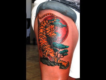 Japanisse Tiger Artinctattoo Marmaris Tattoo Tattoomarmaris  Color Lower Leg