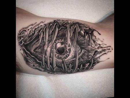 Eye  Teeth  Realism  Surrealism Black Grey Arm
