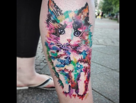 Watercolour Tattoo   Design By Liviing   Done By Lilo Lottermoser Color Lower Leg