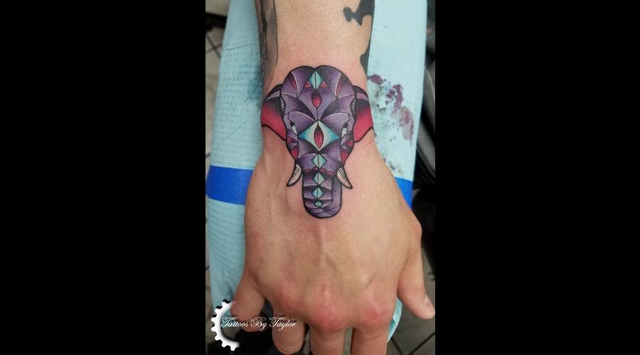 Elephant  Color Tattoo  Hand Tattoo Color Forearm