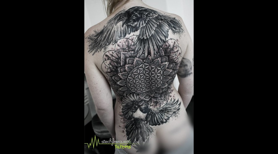Backpiece  Blackandgrey  Mandala  Sacred Geometry  Raven  Magpie  Abstract  Black Grey Back