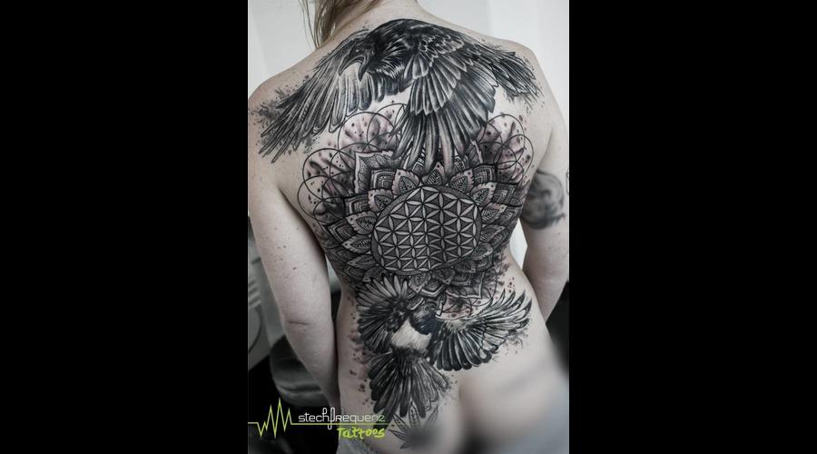 Backpiece  Blackandgrey  Mandala  Sacred Geometry  Raven  Magpie  Abstract  Black Grey Back