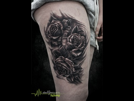 Rose  Roses  Blackandgrey  Realistic  Leaves Black Grey Thigh