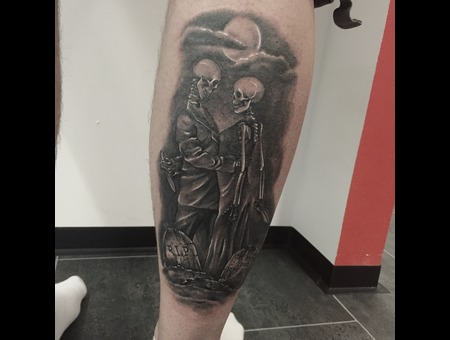 #Blackandgreytattoos #Skulltattoos #Realistic #Realism  #Inprogress Black Grey Lower Leg