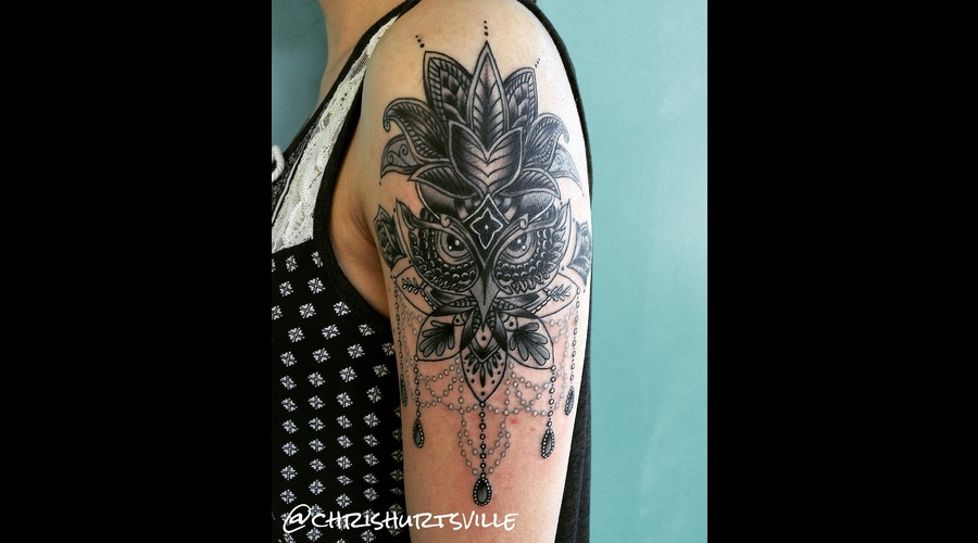 Mandala Owl  Owl Tattoo  Owl Black Grey Arm