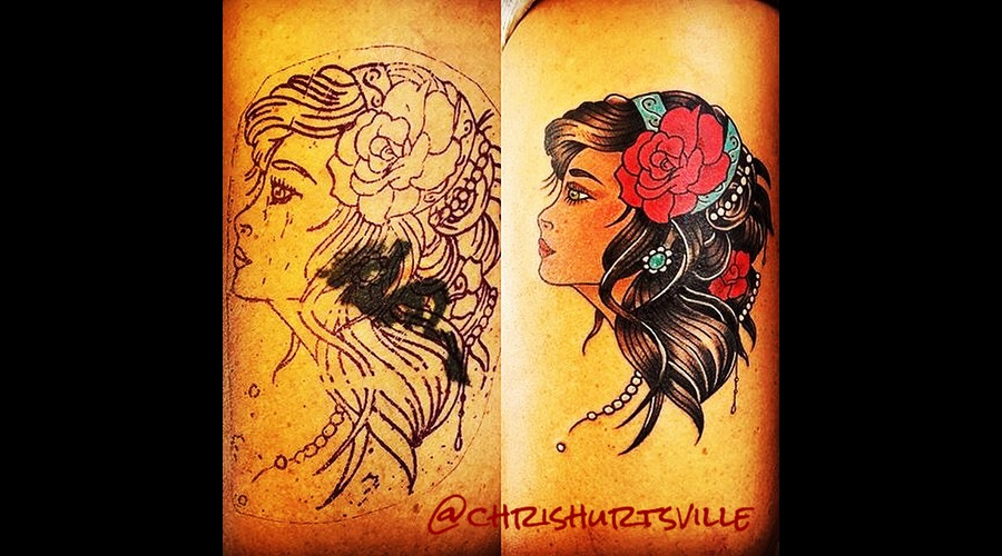 Gypsy  Gypsy Tattoo  Cover Up Color Thigh