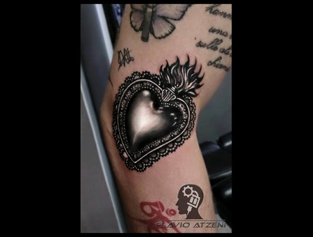 Realistic  Black And Grey  Sacred Heart   Black Grey Arm