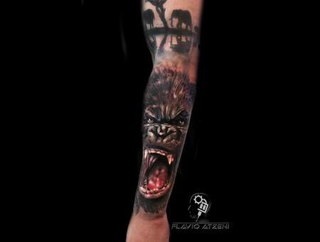 Gorilla  Realistic  Colouored  Godzilla  Animal   Color Arm