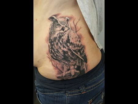 Owl Owltattoo Black Grey Ribs