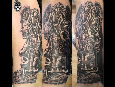 Angel Tattoo... Black Grey Forearm