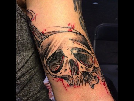 Tattoo  Art  Skull  Trashy Color Arm