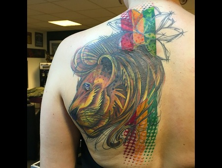 Tattoo  Art  Lion Color Shoulder